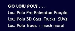 low poly 2D & 3d animated people, 3D car models, tree models, textures
